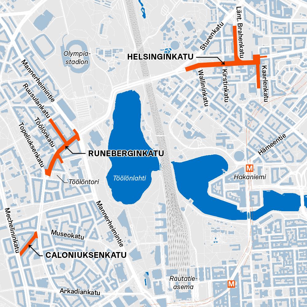 Karttakuvassa Caloniuksenkadun, Runeberginkadun ja Helsinginkadun työmaiden rajaukset
