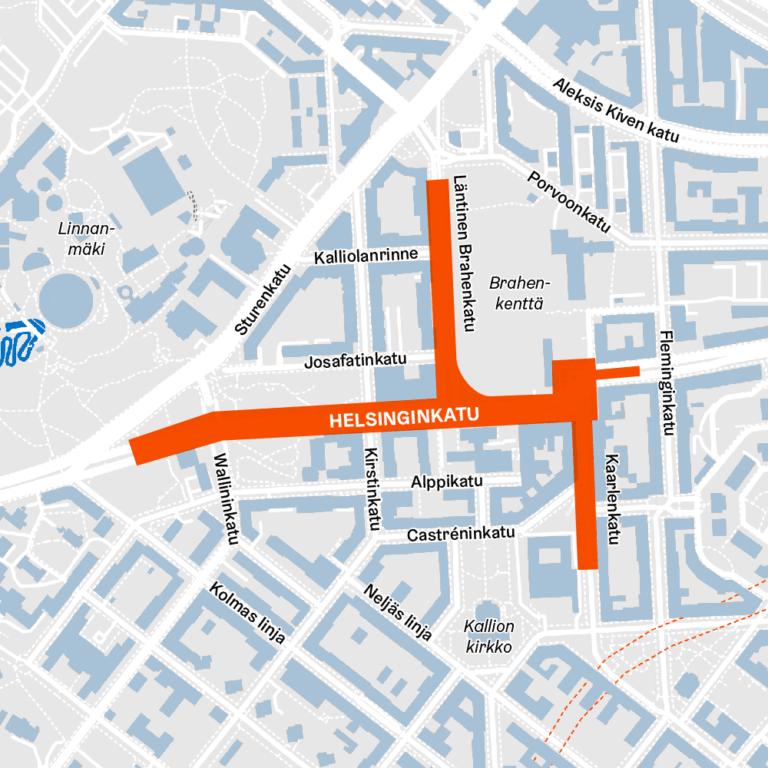Karttakuvassa Helsinginkadun työmaan rajaukset Kalliossa