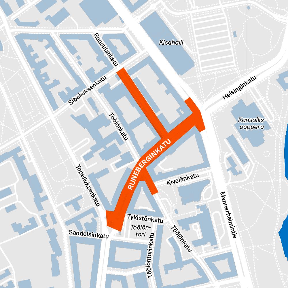 Karttakuvassa Runeberginkadun työmaan rajaukset Taka-Töölössä