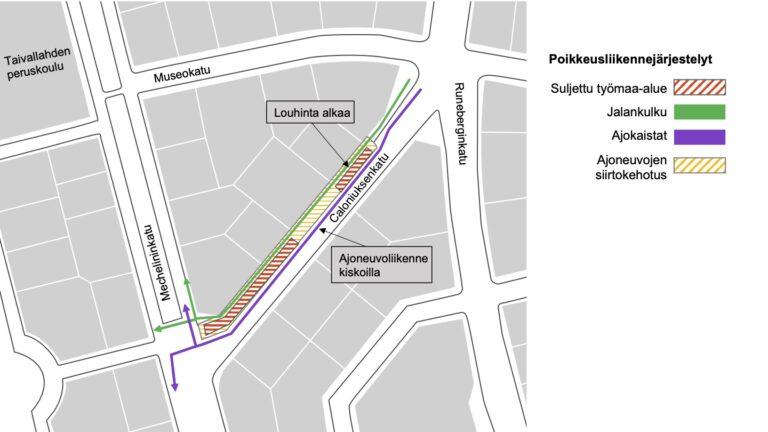 Liikennejärjestelyt kartalla Caloniuksenkadulla Kasin katutöissä