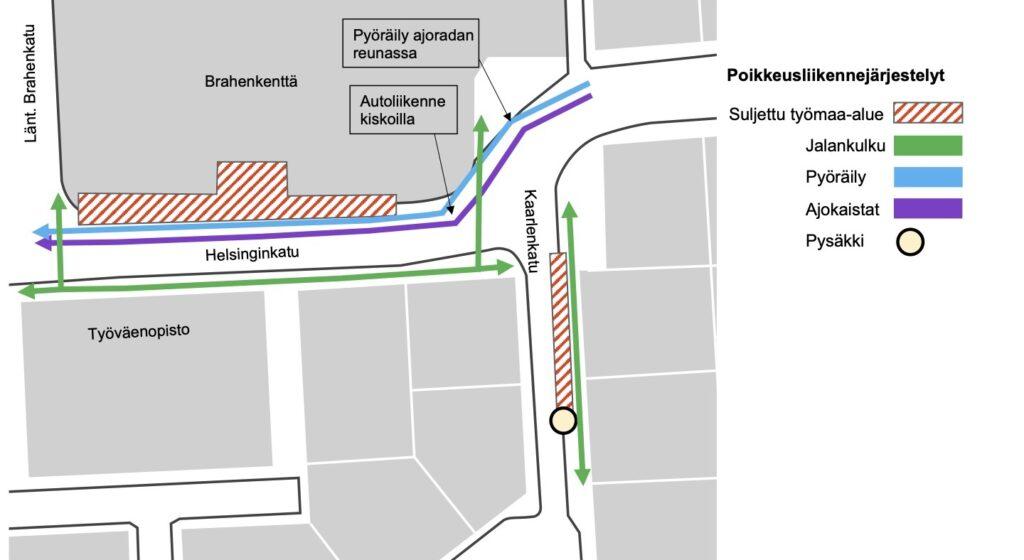 Poikkeusliikennejärjestelyt Helsinginkatu Kaarlenkatu