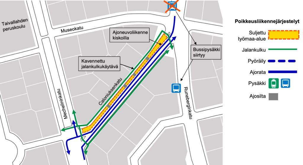 Ajoneuvoliikenteen kulkureitti Kasin katutöiden työmalla kartalla.