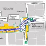 Helsinginkadun eteläpuolen uudet liikennejärjestelyt, poikkeusreitit ja työmaa-alueet esitettynä kartalla