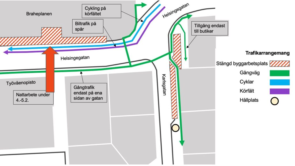 nattarbete göras på Helsingegatan får Åttans gatuarbete