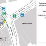 Kasin katutöiden työmaan aloituskohta Runeberginkadulla kartalla viikolla 8