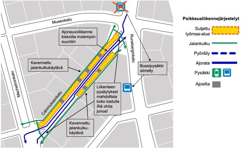 Karttakuva liikennejärjestelyistä Caloniuksenkadulla Kasin katutöiden työmaalla