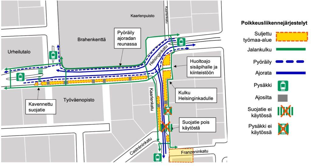 Karttakuva muuttuneista suojateistä Helsinginkadulla ja Kaarlenkadulla