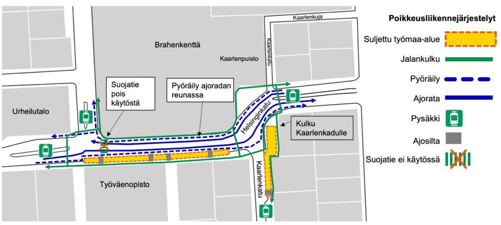 Kulkureitti kartalla Helsinginkadulla Kasin katutöiden työmaan alueella.