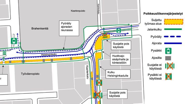 Ajorata kapenee Kaarlenkadun kulmassa – liikenne raitiovaunukiskoille ja suojatie poistuu. Liikennejärjestelyt muuttuvat 29.3. alkavan viikon alussa.