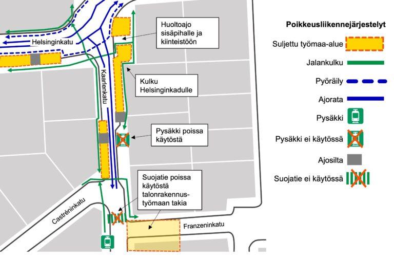 Kuva Kaarlenkadun ja Helsinginkadun muuttuneista liikennejärjestelyistä kartalla Kasin katutöiden työmaa-alueella