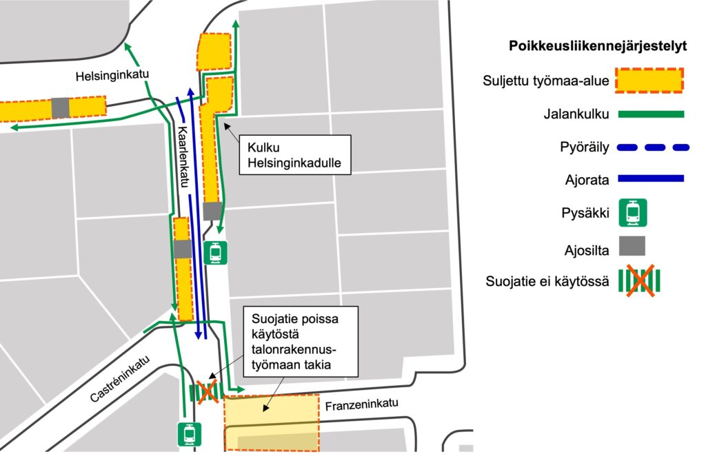 Liikennejärjestelyt Kaarlenkadun länsilaidalla
