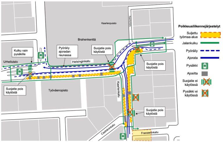 Helsinginkadun ylittävä suojatie poistuu käytöstä Brahenkentän kohdalla Kaarlenkadun risteyksessä pääsiäisen jälkeisenä tiistaina.
