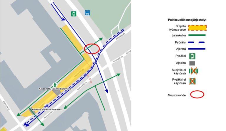 Poikkeusliikennejärjestelyt Runebergin ja Mannerheimintien risteyksessä