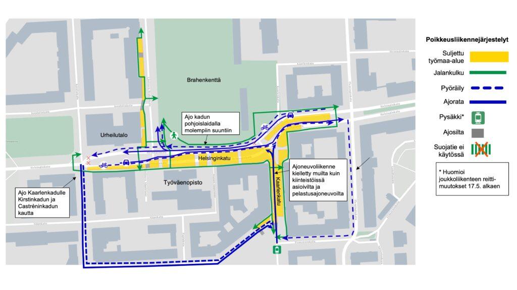Kartta muuttuvista liikennejärjestelyistä Helsinginkadun alueella