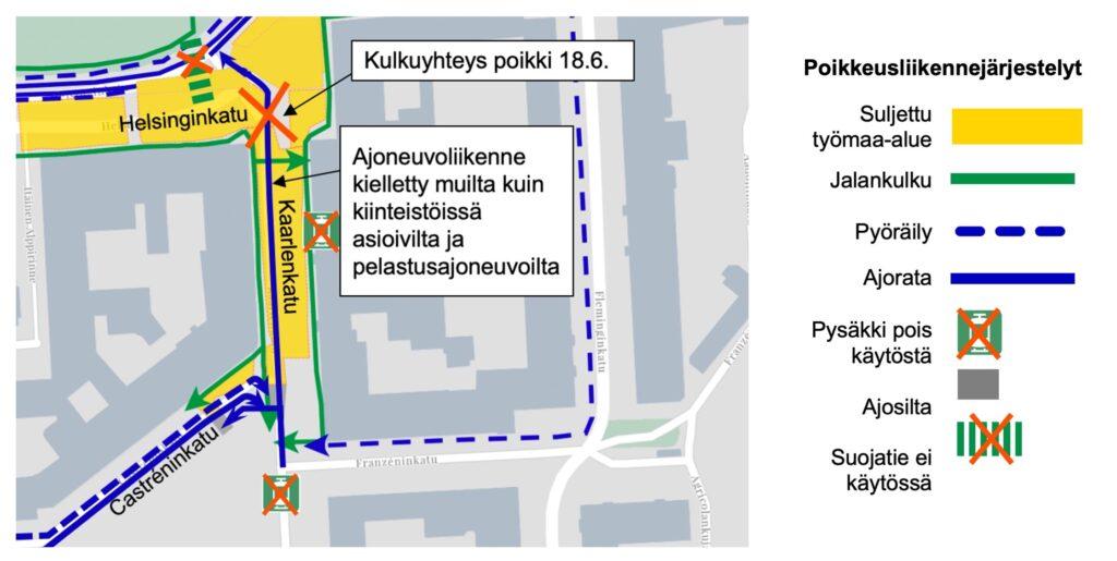 Kulkuyhteys suljettu 18.6. Helsinginkatu ja Kaarlenkatu