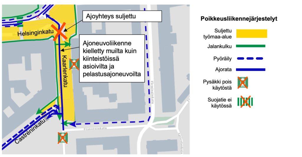 Karttakuva poikkeusliikennejärjestelystä Kaarlenkadulla