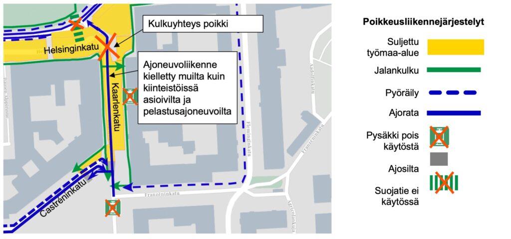 Kartta kuva Helsinginkadun ja Kaarlenkadun risteys