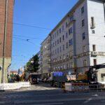 Kasin katutöiden työmaa Runeberginkadun ja Ruusulankadun risteyksessä