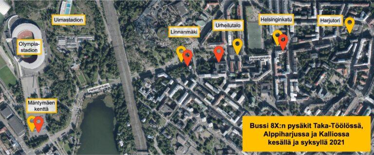 Korvaavan bussi 8X:n pysäkit Taka-Töölössä, Kalliossa ja Alppiharjussa