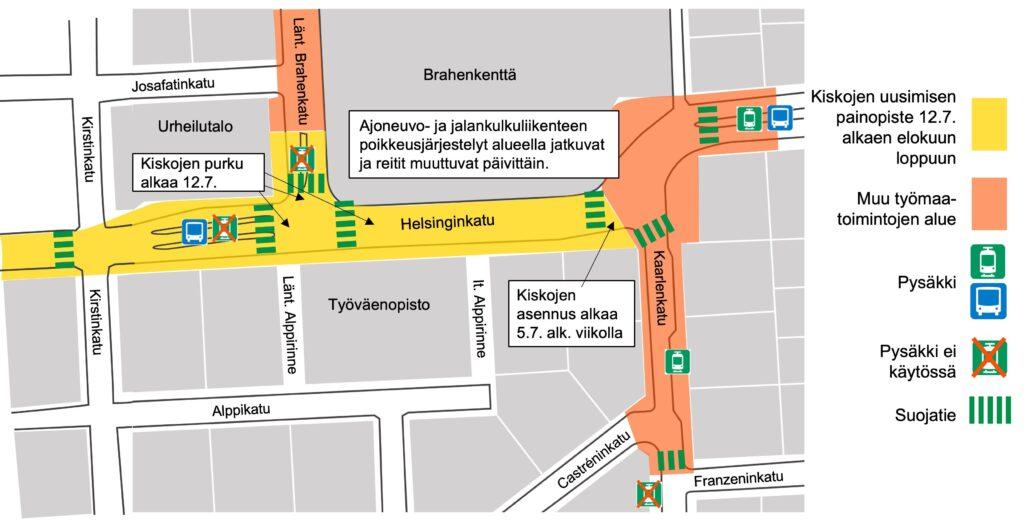 Karttakuva Kasin katutöiden työmaan alueesta Helsinginkadulla