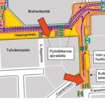 Yötöiden paikat kartalla Helsinginkadun työmaa-alueella