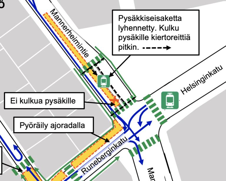 Mannerheimintien raitiovaunupyskin lyheneminen ja kiertoreitti kartalla