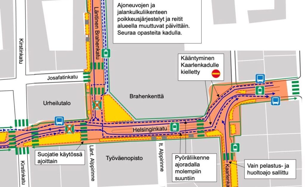 Kartta Helsinginkadun työalueen järjestelyistä 30.8.