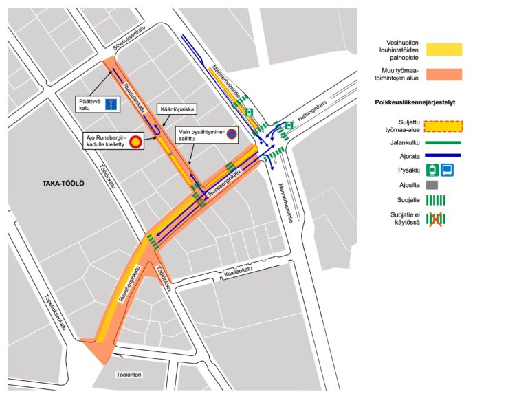 Runeberginkadun ympäristön työalueet ja louhintatöiden painopiste kartalla