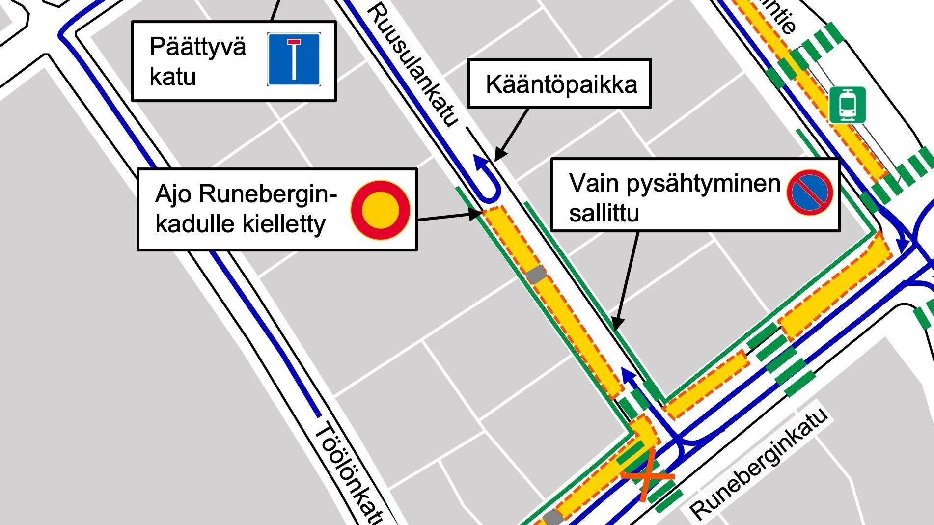 Karttakuva Ruusulankadun liikennejärjestelyistä 20.9. alkavalla viikolla