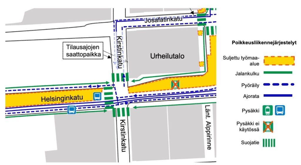 Kartta Helsinginkadun Urheilutalon bussipysäkin tulevasta paikasta