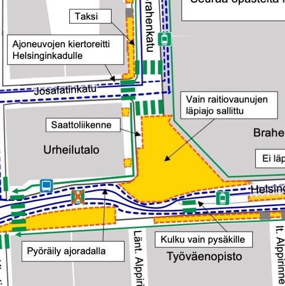 Kartta liikennejärjestelyistä 6.8. alkaen Helsinginkadun alueella